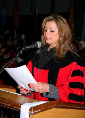 دة. عصمت حوسو - جامعة عمّان الأهلية - عرافة حفل تخريج جامعة عمّان الأهلية