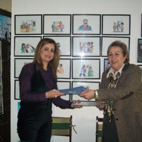 دة. عصمت حوسو - جامعة عمّان الأهلية - توقيع اتفاقية مع مركز الإعلاميات العربيات