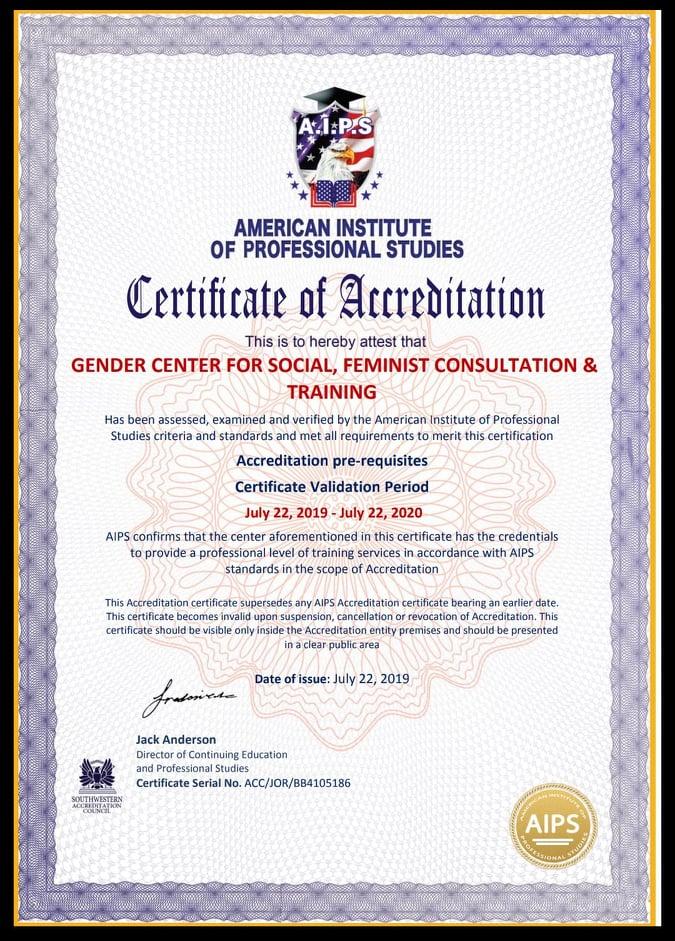 GENDER CENTER FOR SOCIAL FEMINIST CONSULTATIONS AND TRAINING